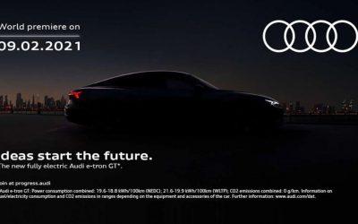 Audi E tron GT – Audi首部電動跑車即將於2月9日發布。